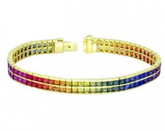 Multicolor Rainbow Sapphire Double Row Tennis Bracelet 14K Yellow Gold (30ct tw) SKU: 1863-14K-Yg