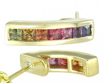 Multicolor Rainbow Sapphire Earrings Hoop Huggie 18K Yellow Gold (2.3ct tw) SKU: 889-18K-Yg