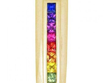 Multicolor Rainbow Sapphire Line Pendant 14K Yellow Gold (1.2ct tw) SKU: 390-14K-Yg