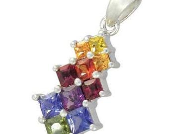 Multicolor Rainbow Sapphire Princess Cut Journey Pendant 18K White Gold (1.15ct tw) SKU: 1466-18K-Wg