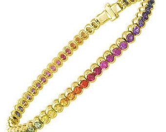 Multicolor Rainbow Sapphire Bezel Set Tennis Bracelet 18K Yellow Gold (14ct tw) : sku 1571-18k-yg