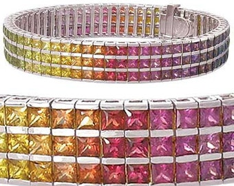 Multicolor Rainbow Sapphire Tripple Row Channel Set Tennis Bracelet 925 Sterling Silver (30ct tw) : sku 1613-925