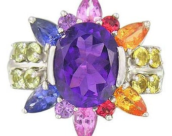 Multicolor Rainbow Sapphire & Amethyst Color Explosion Ring 925 Sterling Silver : sku 1590-925