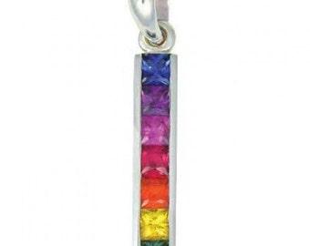 Multicolor Rainbow Sapphire Long Bar Pendant 14K White Gold (1.3ct tw) SKU: 540-14K-Wg