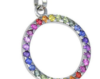 Multicolor Rainbow Sapphire Circle Pendant 18K White Gold : sku 335-18K-WG
