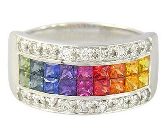 Multicolor Rainbow Sapphire & Diamond Invisible Set Band Ring 14K White Gold (2.25ct tw) SKU: 1494-14K-Wg