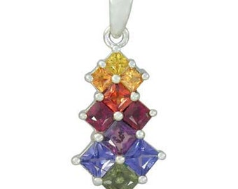 Multicolor Rainbow Sapphire Princess Cut Journey Pendant 925 Sterling Silver : sku 1466-925