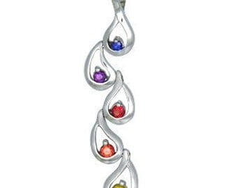Multicolor Rainbow Sapphire Journey Pendant 14K White Gold (1/2ct tw) SKU: 392-14K-Wg
