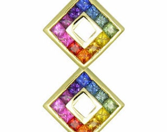 Multicolor Rainbow Sapphire Double Small Square Pendant 14K Yellow Gold (1.5ct tw) SKU: 525-14K-Yg