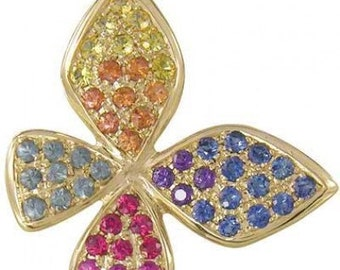 Multicolor Rainbow Sapphire Stylish Butterfly Pendant 14K Yellow Gold (1.07ct tw) SKU: 1542-14K-Yg