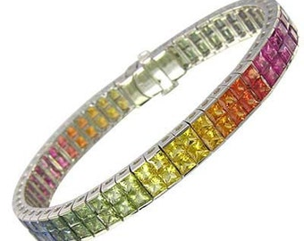 Multicolor Rainbow Sapphire Double Row Invisible Set Tennis Bracelet 18K White Gold (25ct tw) SKU: 1567-18K-Wg