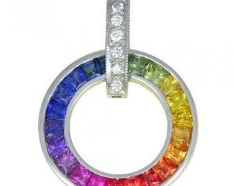 Multicolor Rainbow Sapphire & Diamond Round Slide Pendant 14K White Gold (2.48ct tw) SKU: 432-14K-Wg