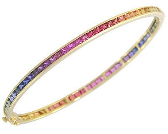 Multicolor Rainbow Sapphire Eternity Oval Bangle 18K Yellow Gold (8ct tw) SKU: 1520-18K-Yg