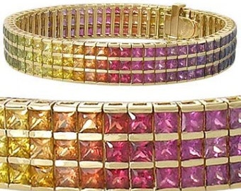 Multicolor Rainbow Sapphire Tripple Row Channel Set Tennis Bracelet 14K Yellow Gold (30ct tw) : sku 1613-14K-YG