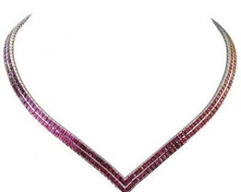 Multicolor Rainbow Sapphire Double Row Tennis Necklace 14K White Gold (30ct tw) SKU: 1540-14K-Wg