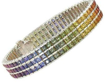 Multicolor Rainbow Sapphire Tripple Row Channel Set Tennis Bracelet 18K White Gold (30ct tw) : sku 1613-18K-WG
