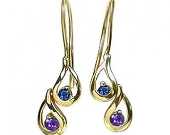 Multicolor Rainbow Sapphire Journey Earrings 18K Yellow Gold (1/2ct tw) SKU: 393-18K-Yg