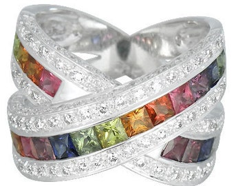 Multicolor Rainbow Sapphire & Diamond Large Crossover Ring 14K White Gold (3.5ct tw) : sku 628-white-14K