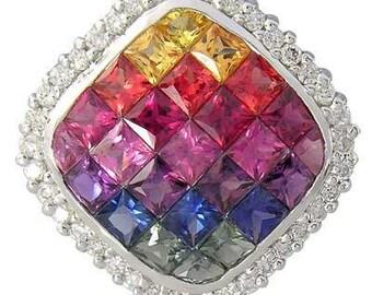 Multicolor Rainbow Sapphire & Diamond Invisible Square Pendant 14K White Gold (2.92ct tw)  : sku 429-14k-wg