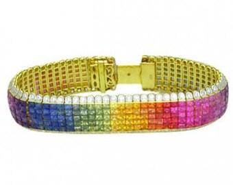 Multicolor Rainbow Sapphire & Diamond Invisible Set 5 Row Tennis Bracelet 18K Yellow Gold (66.32ct tw) SKU: 467-18K-Yg
