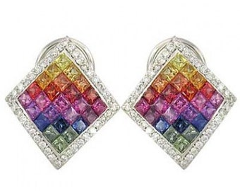 Multicolor Rainbow Sapphire & Diamond Invisible Set Earrings 14K White Gold (5.5ct tw) SKU: 428-14K-Wg