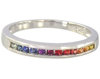 Multicolor Rainbow Sapphire Half Eternity Band Ring 925 Sterling Silver : sku 890-925
