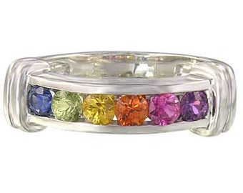 Multicolor Rainbow Sapphire Band Ring 925 Sterling Silver : sku 312-925