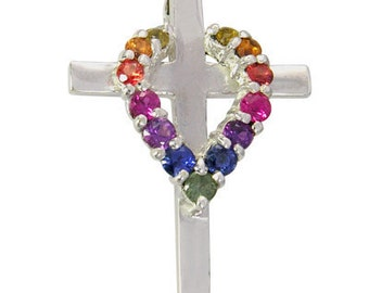 Multicolor Rainbow Sapphire Heart on Cross Pendant 925 Sterling Silver (3/4ct tw) SKU: 1463-925