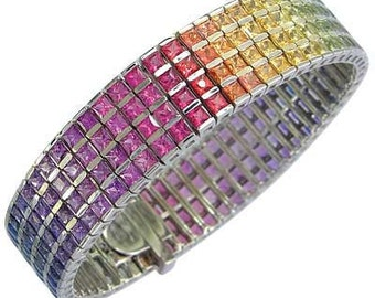 Multicolor Rainbow Sapphire Channel Set 4 Row Tennis Bracelet 18K White Gold (40ct tw) SKU: 1572-18K-Wg