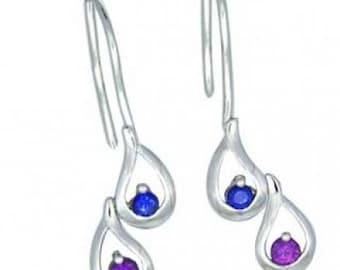 Multicolor Rainbow Sapphire Journey Earrings 18K White Gold (1/2ct tw) SKU: 393-18K-Wg