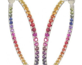 Multicolor Rainbow Sapphire Earrings Hoop Huggie 925 Sterling Silver (7ct tw) SKU: 1492-925