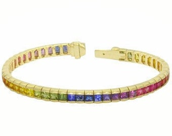 Multicolor Rainbow Sapphire Tennis Bracelet 14K Yellow Gold (8ct tw) : sku BRC225-24-14k-yg