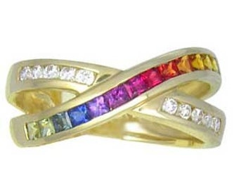 Multicolor Rainbow Sapphire & Diamond Crossover Ring 14K Yellow Gold : sku 398-14k-yg