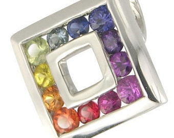 Multicolor Rainbow Sapphire Square Pendant 925 Sterling Silver (2ct tw) SKU: 1603-925