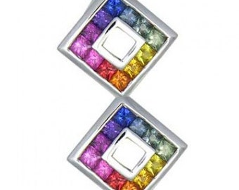Multicolor Rainbow Sapphire Double Small Square Pendant 925 Sterling Silver (1.5ct tw) SKU: 525-925