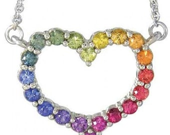 Multicolor Rainbow Sapphire Necklace Heart Design 925 Sterling Silver (2ct tw): sku 1541-925