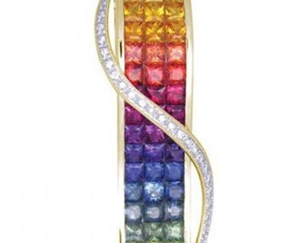 Multicolor Rainbow Sapphire & Diamond Invisible Set Pendant 18K Yellow Gold (8.28ct tw) SKU: 472-18K-Yg