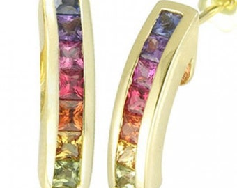 Multicolor Rainbow Sapphire Earrings Hoop Huggie 14K Yellow Gold (2.3ct tw) SKU: 889-14K-Yg