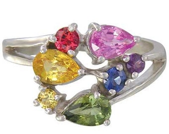 Multicolor Rainbow Sapphire Multicolor Fireworks Ring 925 Sterling  : sku 1601-925