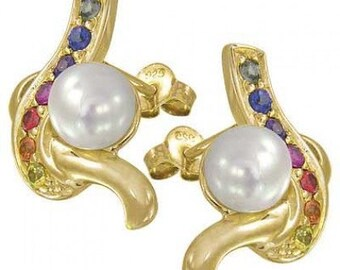 Multicolor Rainbow Sapphire & Pearl Classic Earring 14 Yellow Gold (1/2ct tw) SKU: 1605-14K-YG