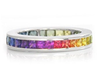 Multicolor Rainbow Sapphire Eternity Band Ring 14k White Gold (3ct tw) : sku R2045-14K-WG