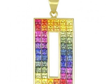 Multicolor Rainbow Sapphire Invisible Set Rectangle Pendant 18K Yellow Gold (11ct tw) SKU: 1374-18K-Yg