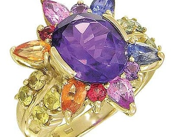 Multicolor Rainbow Sapphire & Amethyst Color Explosion Ring 14K Yellow Gold : sku 1590-14K-YG