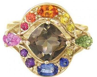 Multicolor Rainbow Sapphire & Smoky Quartz Multi Shape Ring 14K Yellow Gold (3.74ct tw) SKU: 1575-14K-Yg