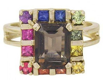 Multicolor Rainbow Sapphire & Smoky Quartz Rubix Cube Ring 14K Yellow Gold (3.26ct tw) SKU: 1618-14K-Yg