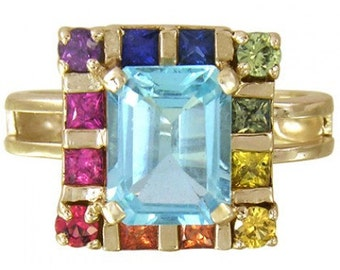 Multicolor Rainbow Sapphire & Blue Topaz Rubix Cube Ring 14K Yellow Gold(3.26ct tw) SKU: 1785-14K-Yg