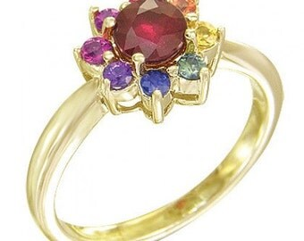 Multicolor Rainbow Sapphire & Ruby Cluster Ring 18K Yellow Gold (1.23ct tw) SKU: 1549-18K-Yg