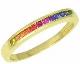 Multicolor Rainbow Sapphire Half Eternity Band Ring 18K Yellow Gold : sku 890-18K-YG