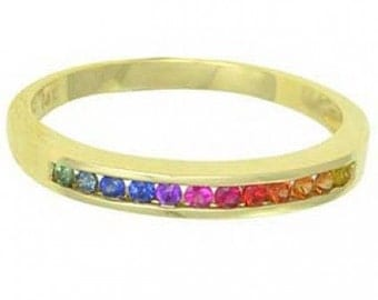 Multicolor Rainbow Sapphire Half Eternity Band Ring 14K Yellow Gold : sku 890-yellow-14K