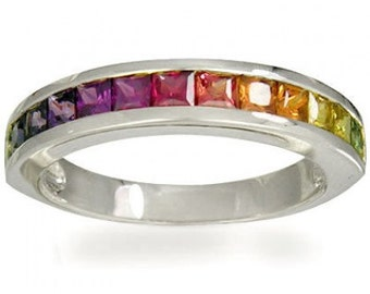 Multicolor Rainbow Sapphire Half Eternity Band Ring 14K White Gold (2ct tw) SKU: 663-14K-Wg